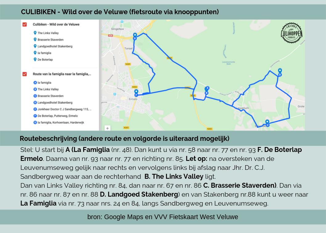 Fietsroutekaart Culibiken – Wild over de Veluwe